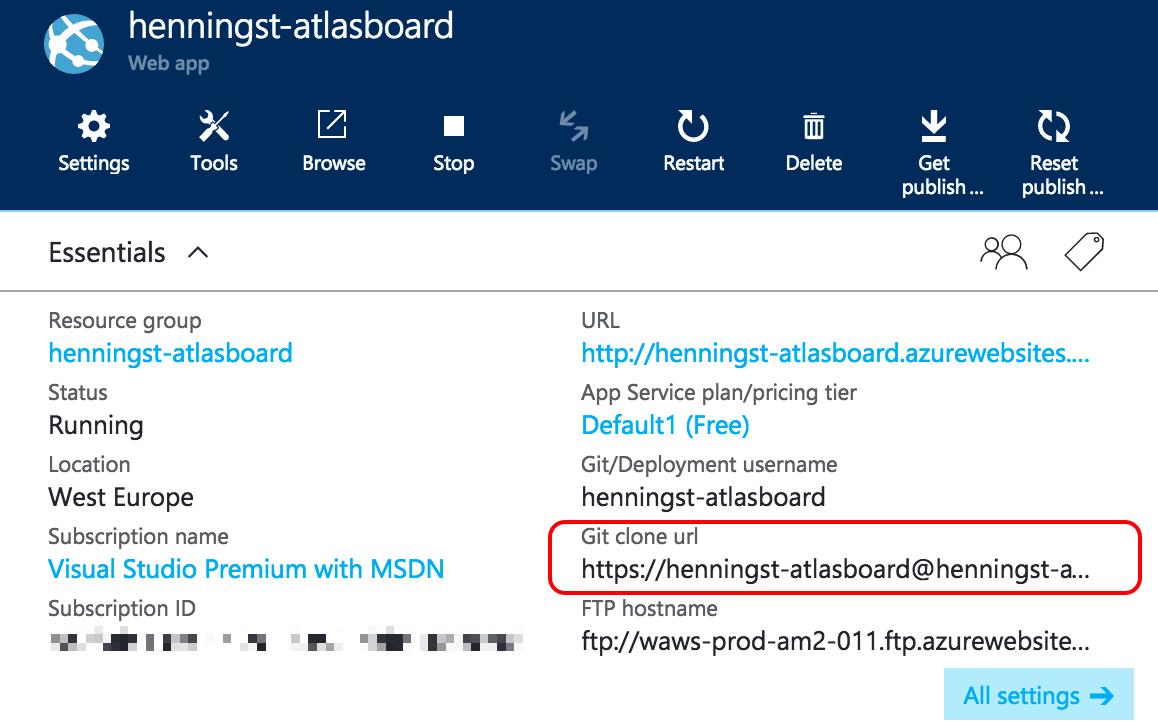 Screenshot of Azure settings with Git URL